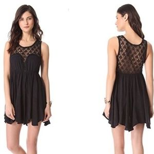 Free People FIESTA Dress Black Crochet M Fit Flare